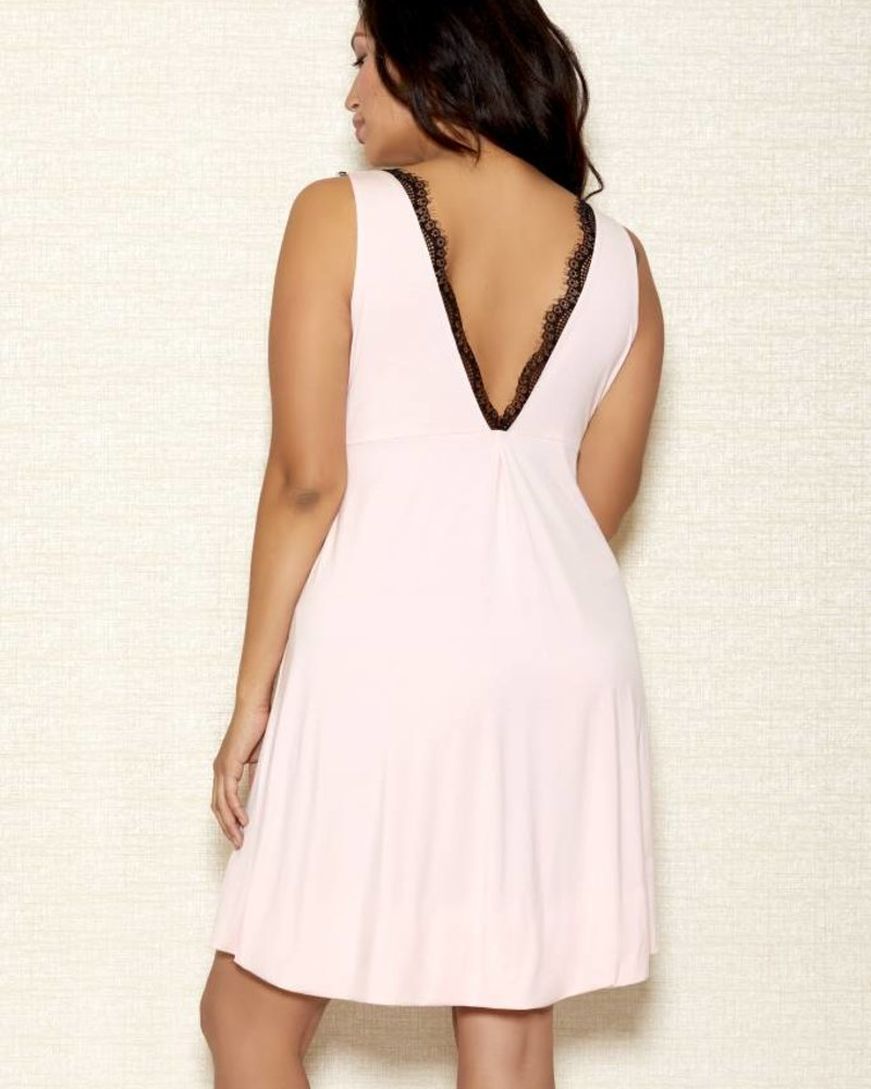Plus Size Modal Chemise with Lace Overlay Cups