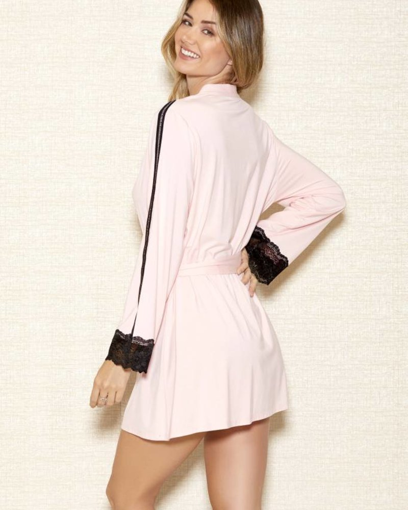 WOMENS MODAL ROBE WITH LACE TRIM SLEEVES