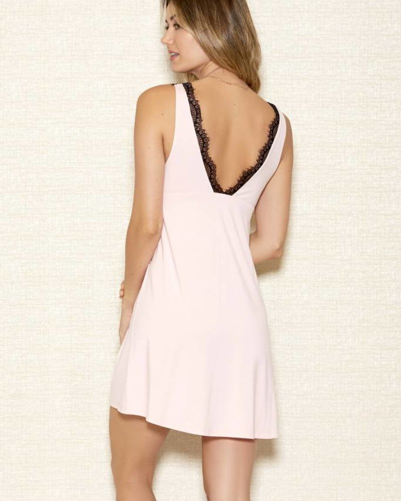 MODAL CHEMISE WITH LACE OVERLAY CUPS