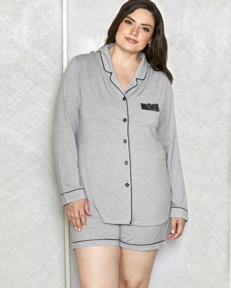 PLUS SIZE MODAL BUTTON DOWN SHORT SET