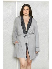 PLUS SIZE MODAL SHAWL LACE COLLAR ROBE