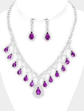 PURPLE RHINESTONE NECKLACE SET