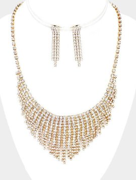 RHINESTONE & GOLD NECKLACE & EARRING SET & EARRING SET