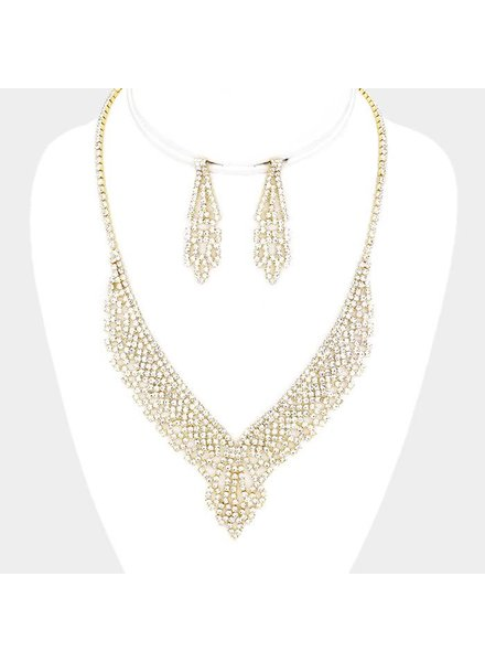 CRYSTAL RHINESTONE PAVE V NECKLACE SET