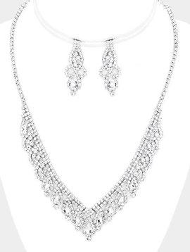 Teardrop Crystal Rhinestone Pave V Necklace