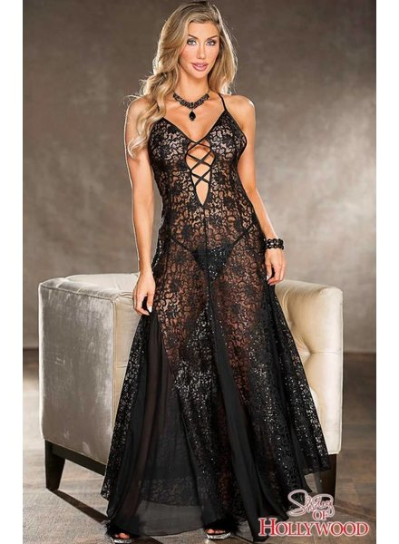 Sequined Lace Long Gown