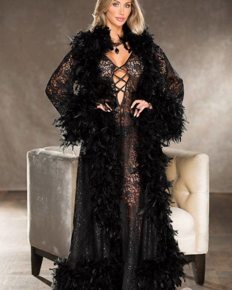 Sequined Lace Chandelle Feather Long Robe