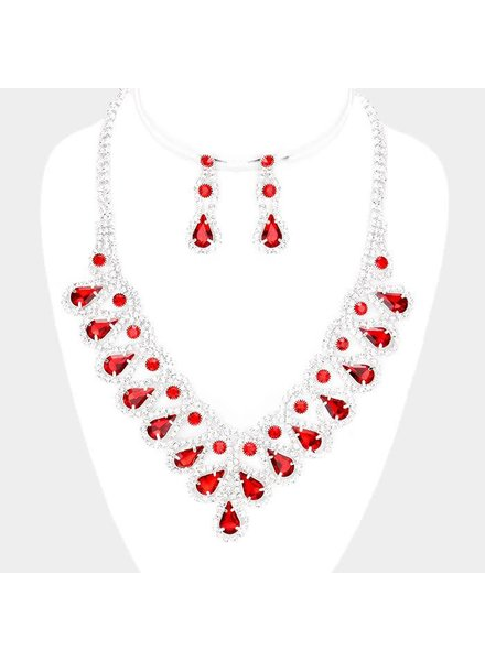 RED RHINESTONE NECKLACE & EARRING SET