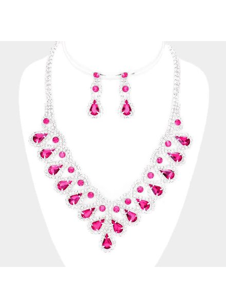 PINK RHINESTONE NECKLACE & EARRING SET