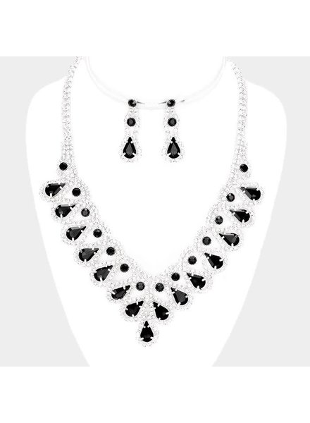 BLACK RHINESTONE NECKLACE & EARRING SET