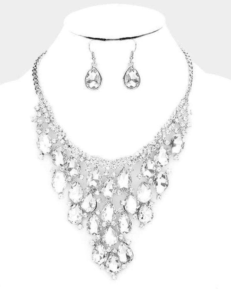 Crystal Teardrop Collar Statement Necklace