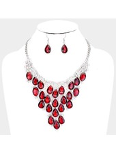 Crystal Teardrop Collar Statement Necklace