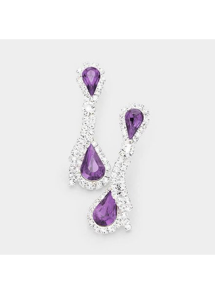 Crystal Rhinestone Dual Teardrop Earrings