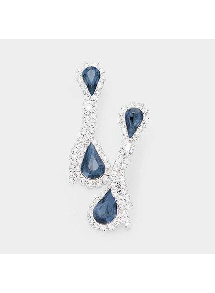 Crystal Rhinestone Dual Teardrop Earrings