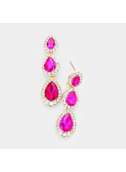 Triple Teardrop Stone Link Evening Earrings