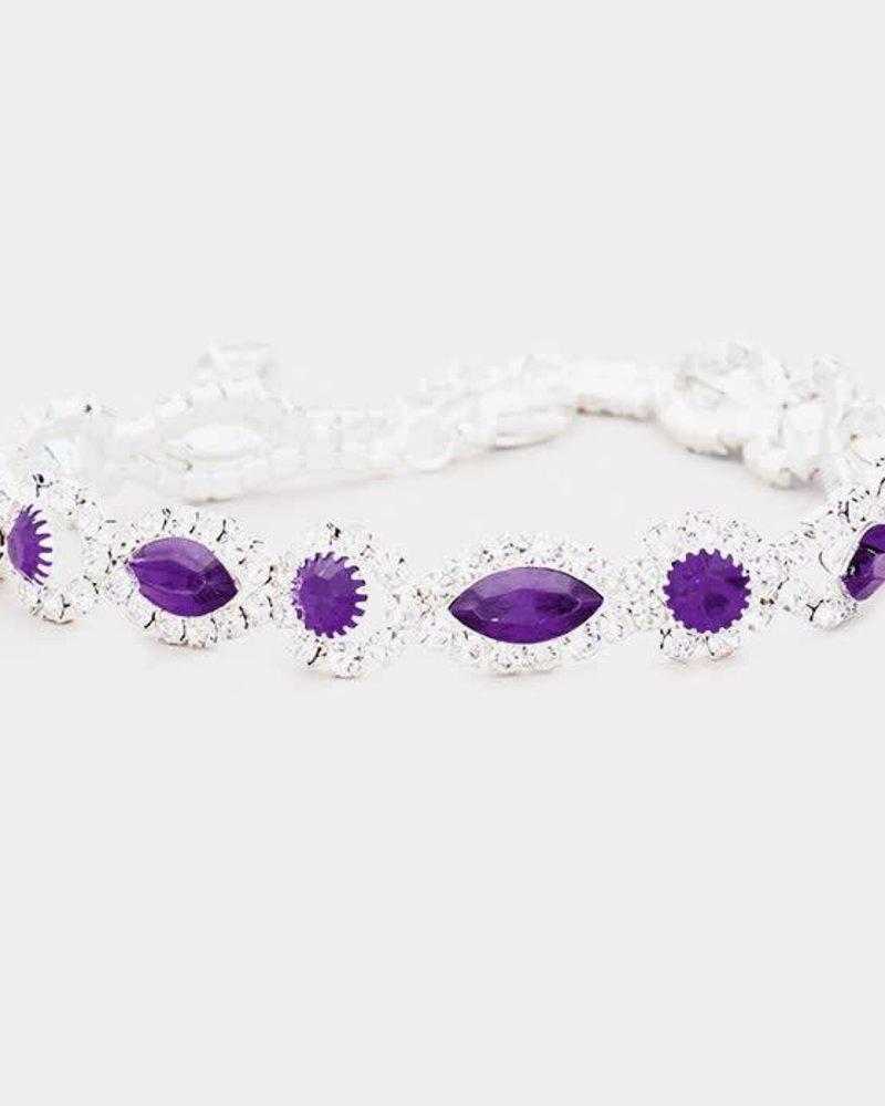 Rhinestone Trimmed Marquise Evening Bracelet
