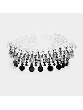 Pave Bubble Stone Cluster Evening Bracelet