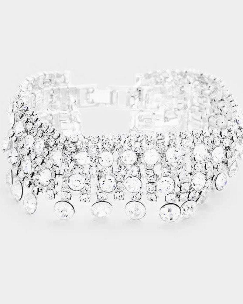 Pave Bubble Stone Cluster Evening Bracelet