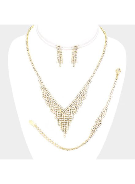 Rhinestone Pave V Necklace Set