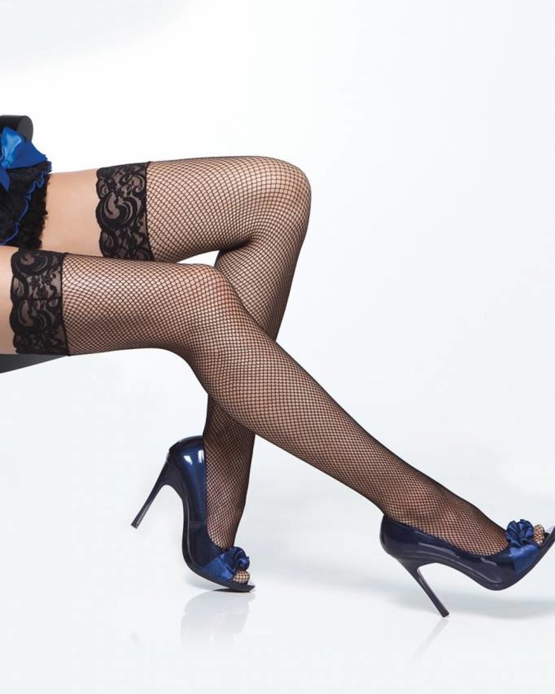 a66dbaa6a2145 LACE TOP SHEER THIGH HIGH FISH NET STAY UP STOCKINGS - ANGIE DAVIS