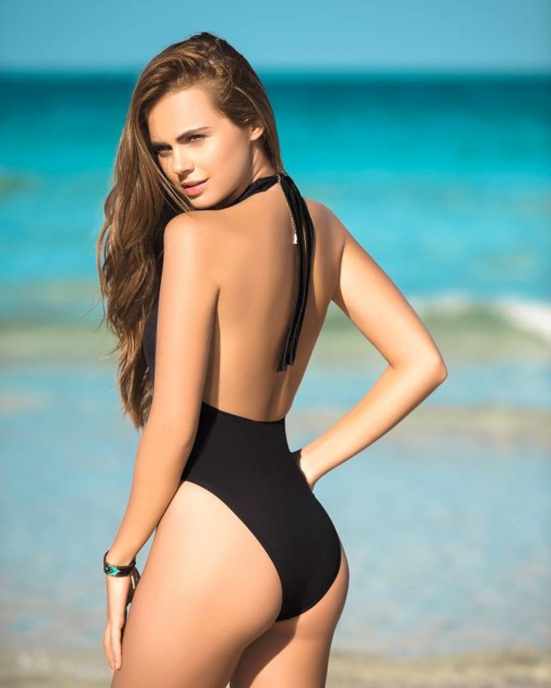 Black Plunging Neckline One Piece