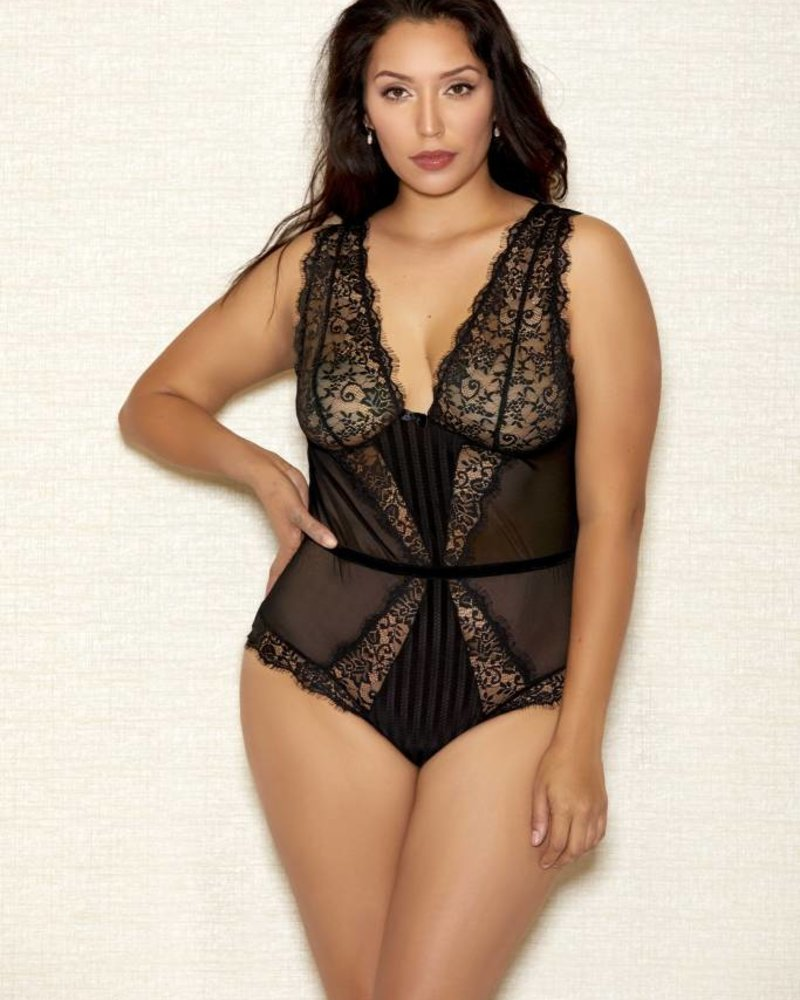 Plus Size Selena Black Lace Teddy