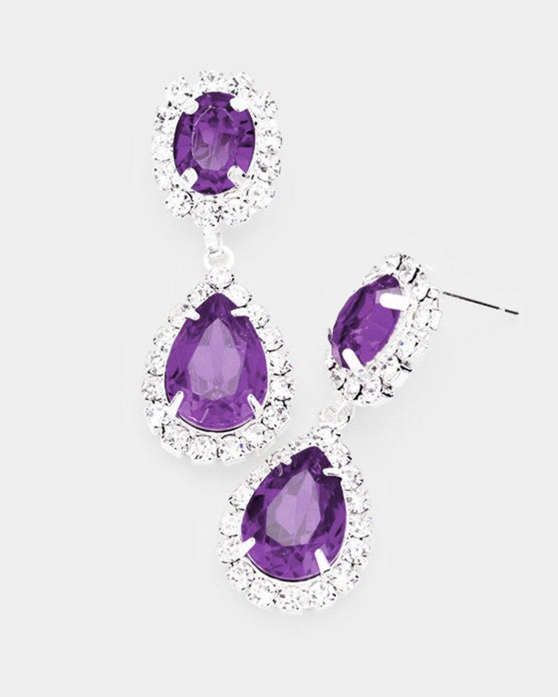 Pave Trim Crystal Rhinestone Teardrop Earrings