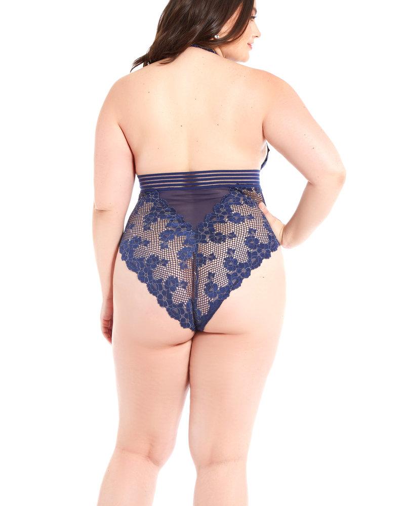 Plus Size Blue Floral Fishnet Teddy