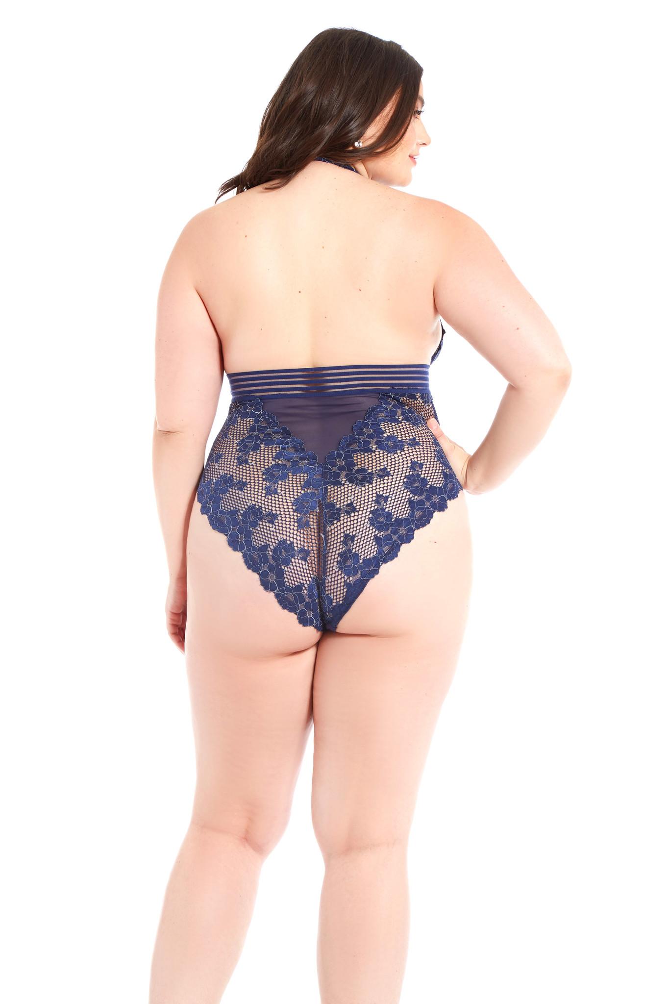 ed3ceb67a53 Plus Size Blue Floral Fishnet Teddy - ANGIE DAVIS