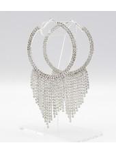 Spectacular Rhinestone Fringe Hoop Earrings