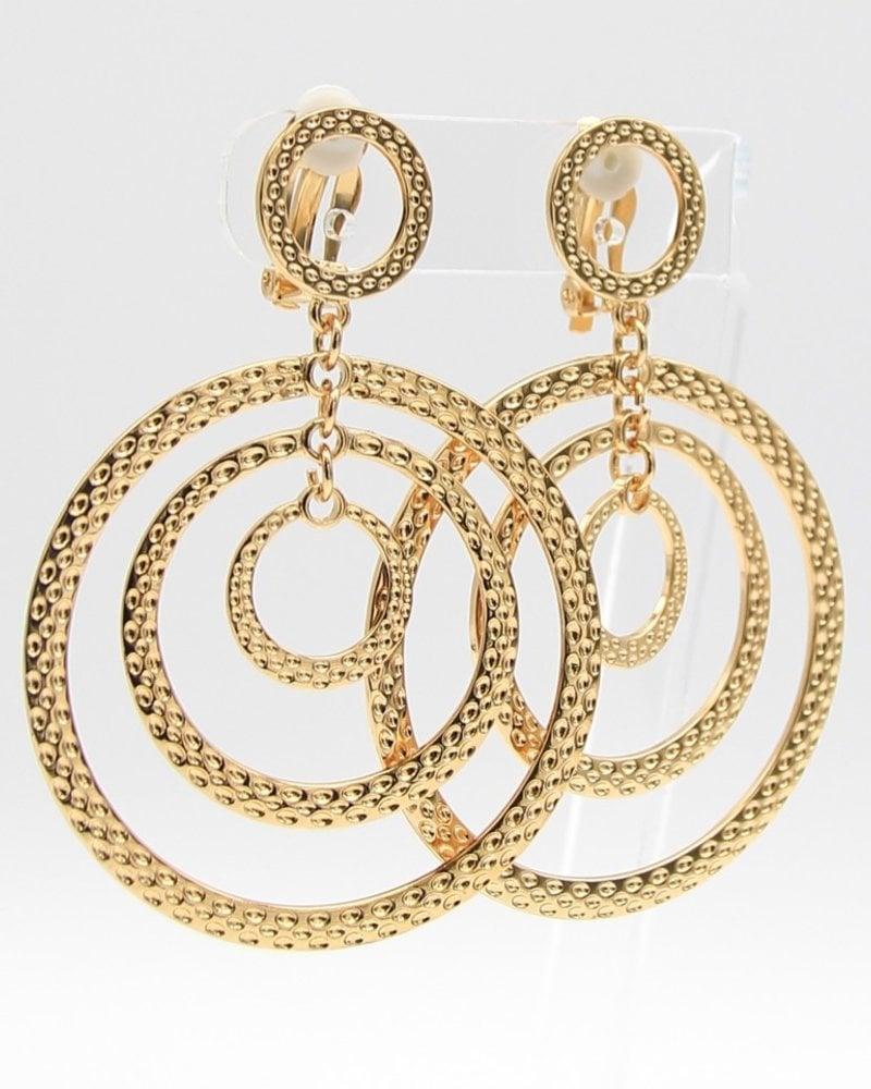 Multi-Rings Metal Clip-On Earrings