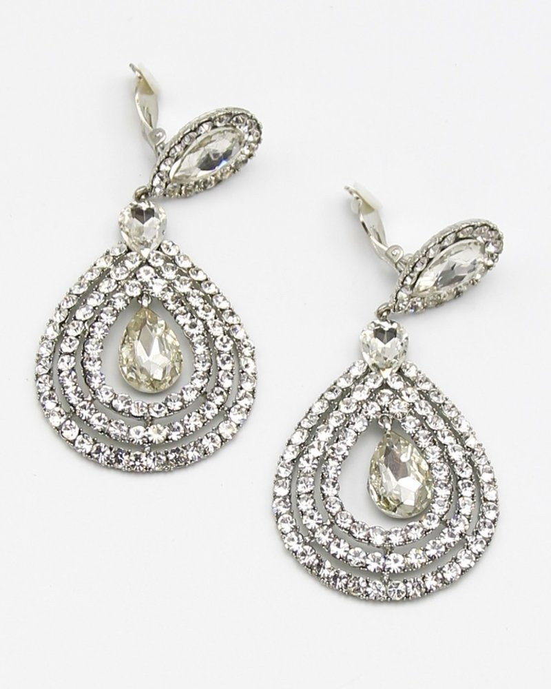 Crystal Teardrop Clip-On Earrings