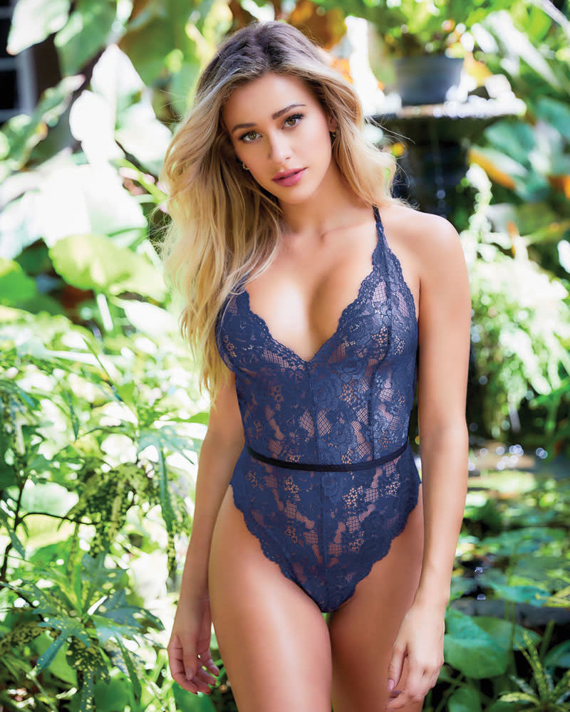 Blue Lace Strappy Teddy