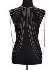 Shoulder Drape Body Chain - Gold