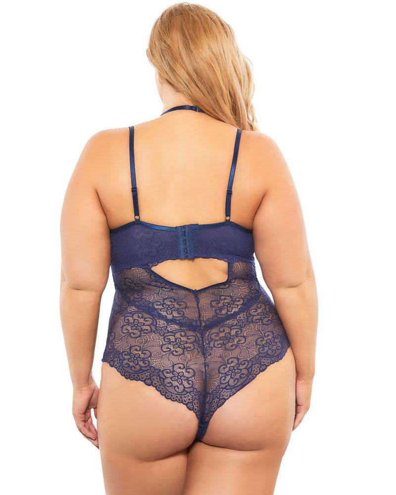 Plus Size Royal Blue Lace Teddy