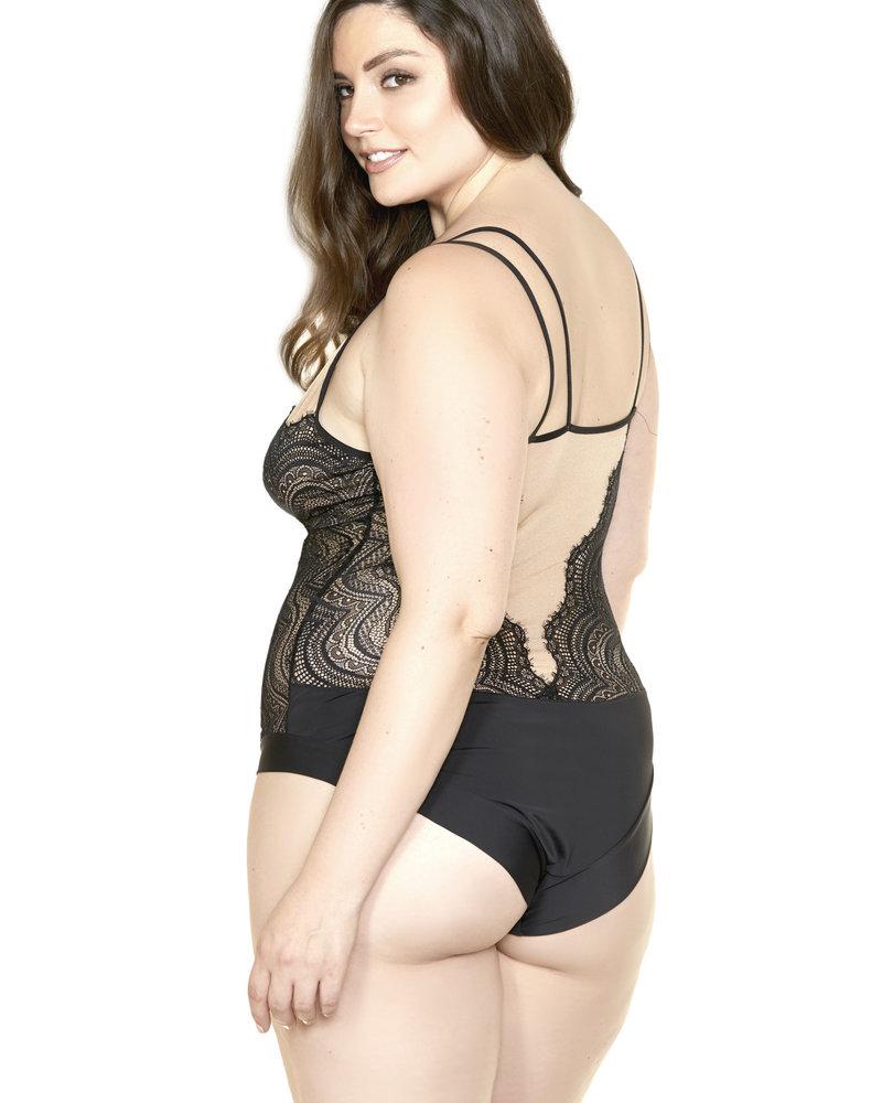 Plus Size Black & Nude Swirl Teddy