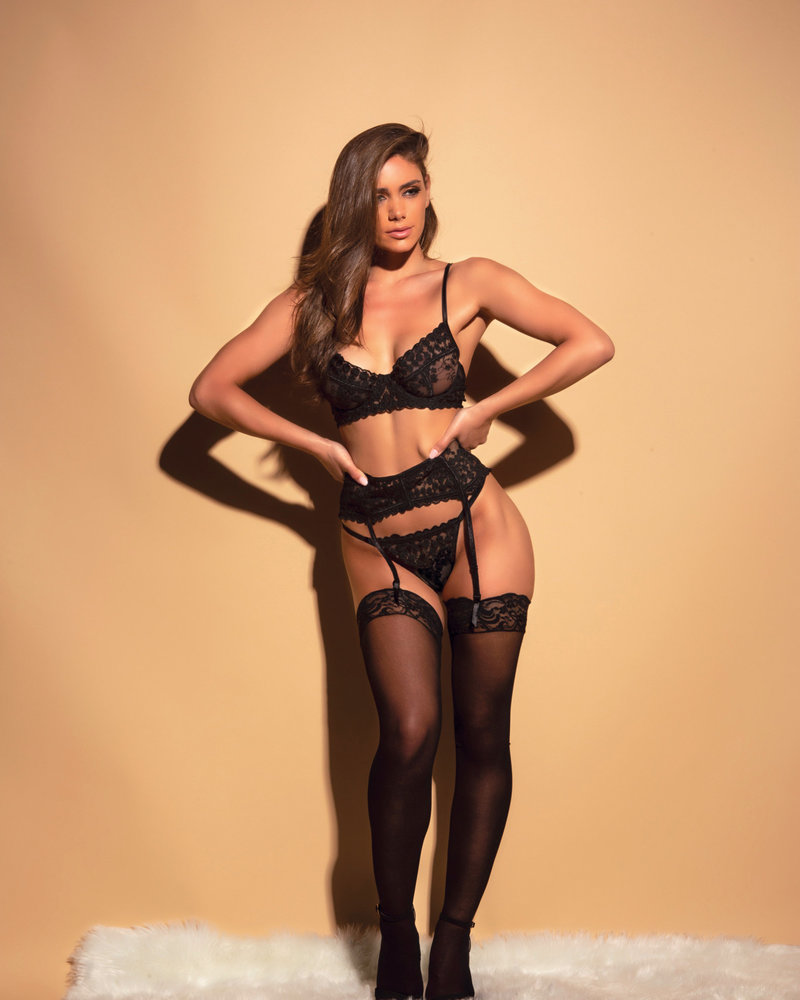 Emily Embroidered Bra & Garter Set