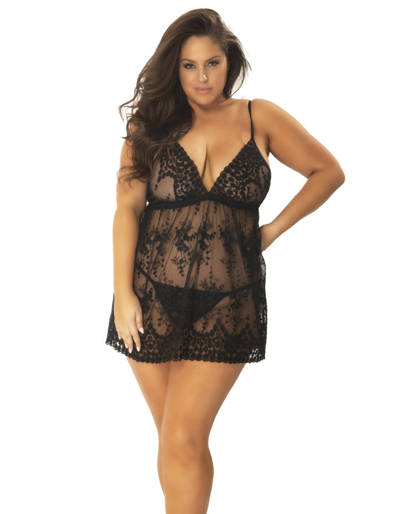 Emily Embroidered Lace Babydoll Set