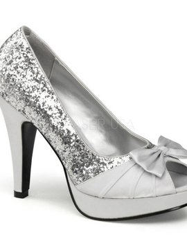 Silver Glitter and Satin Heel