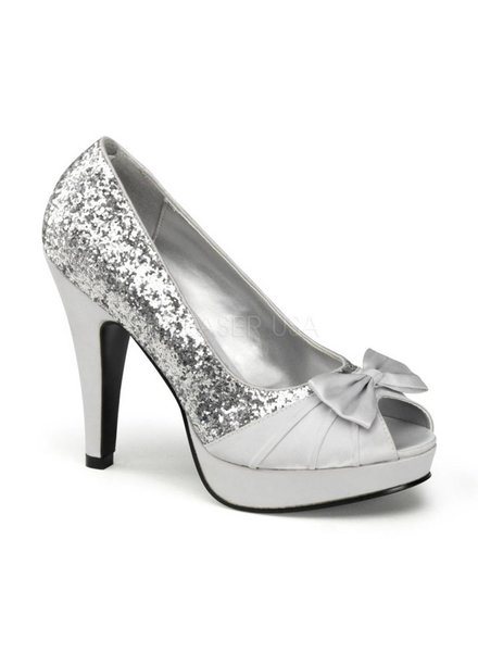 Silver Glitter and Satin Heel