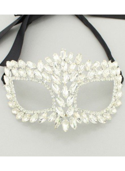 Masquerade Crystal Mask Clear-Silver