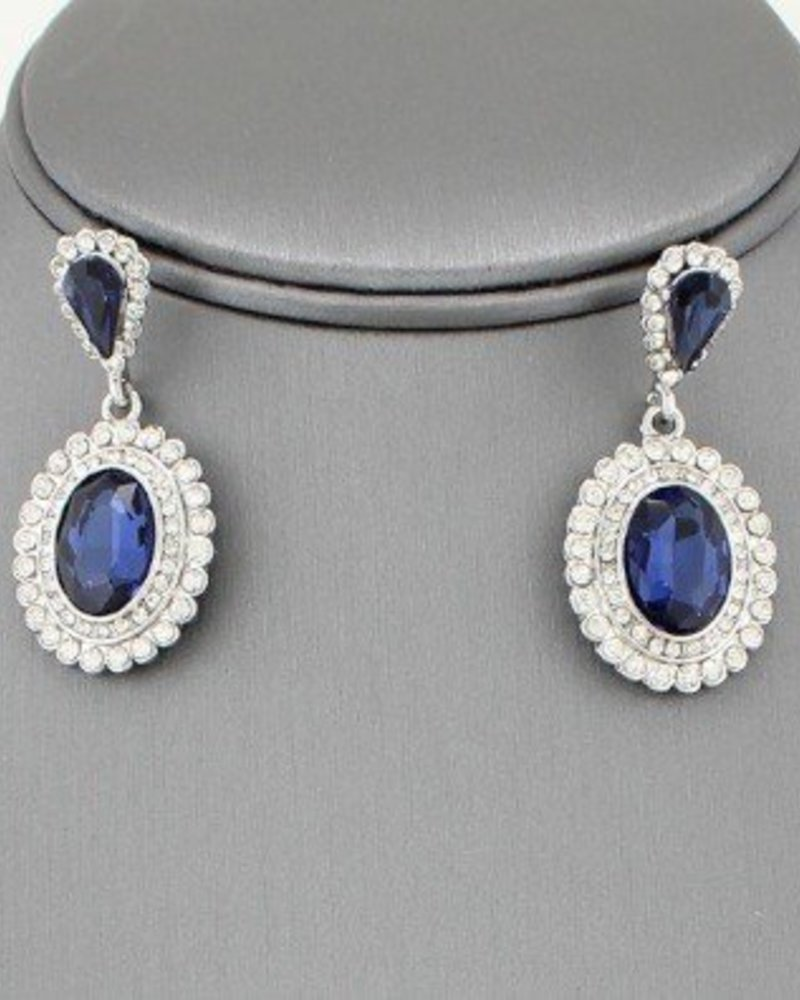 Bridal Drop Earrings Navy Blue