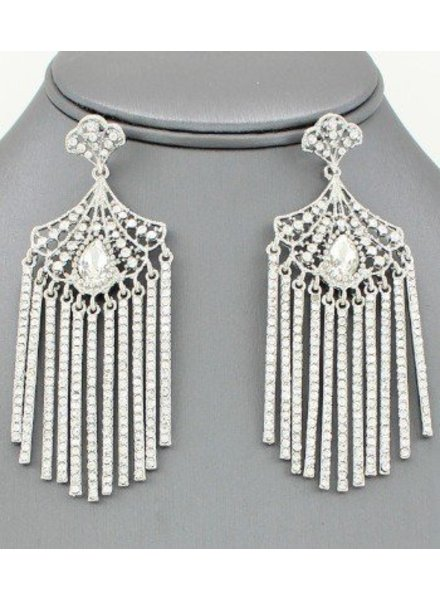 Cleopatra Fringe Crystal Drop Earrings Clear