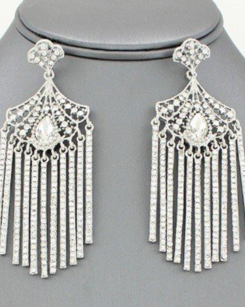 Cleopatra Fringe Crystal Drop Earrings Clear