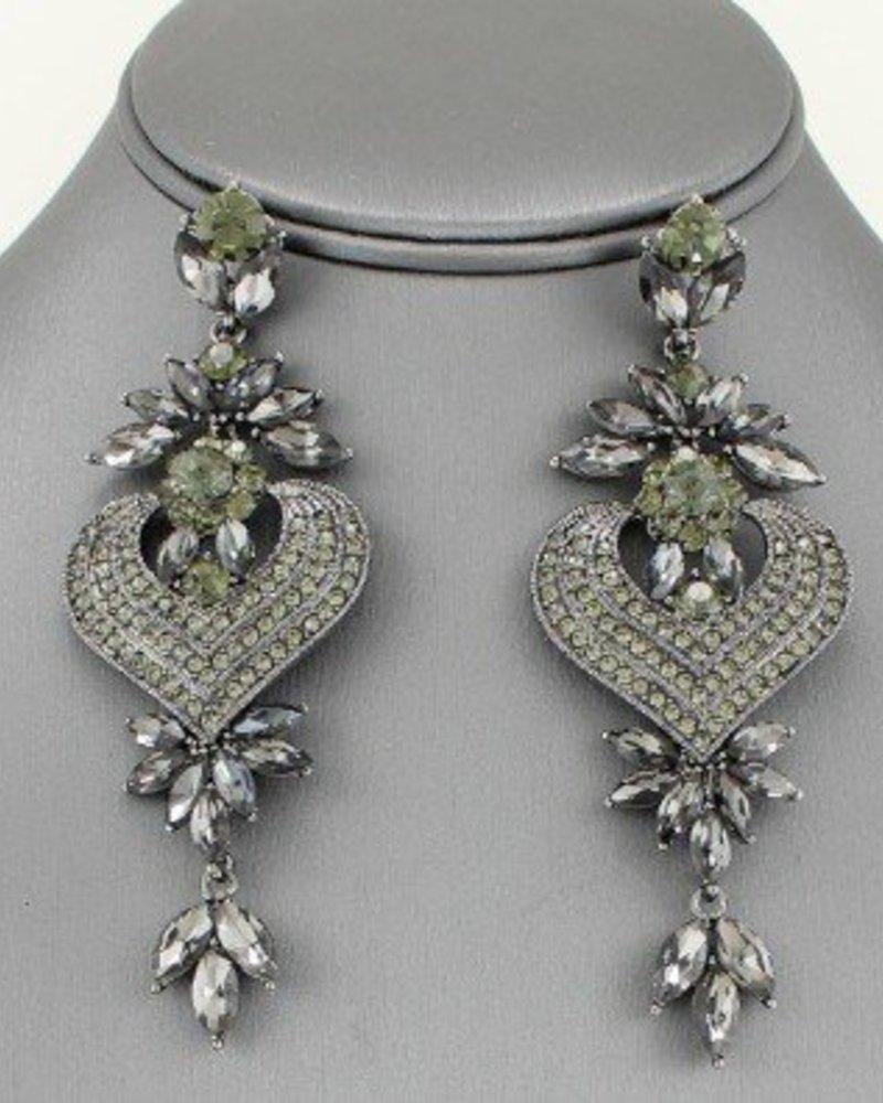 Crystal Chandelier Drop Earrings Grey