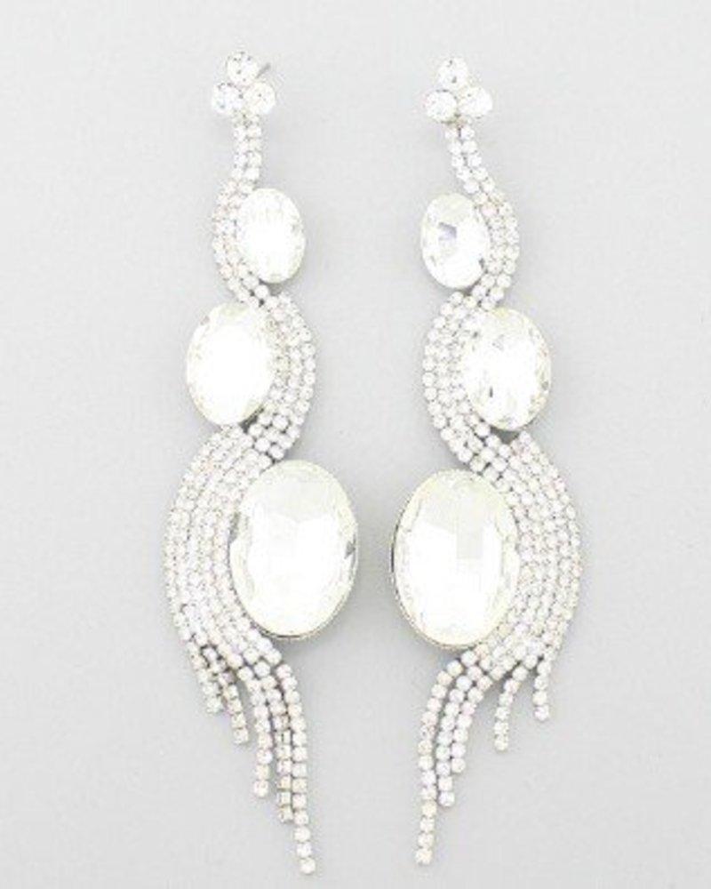 Fringe Earrings Clear-Silver