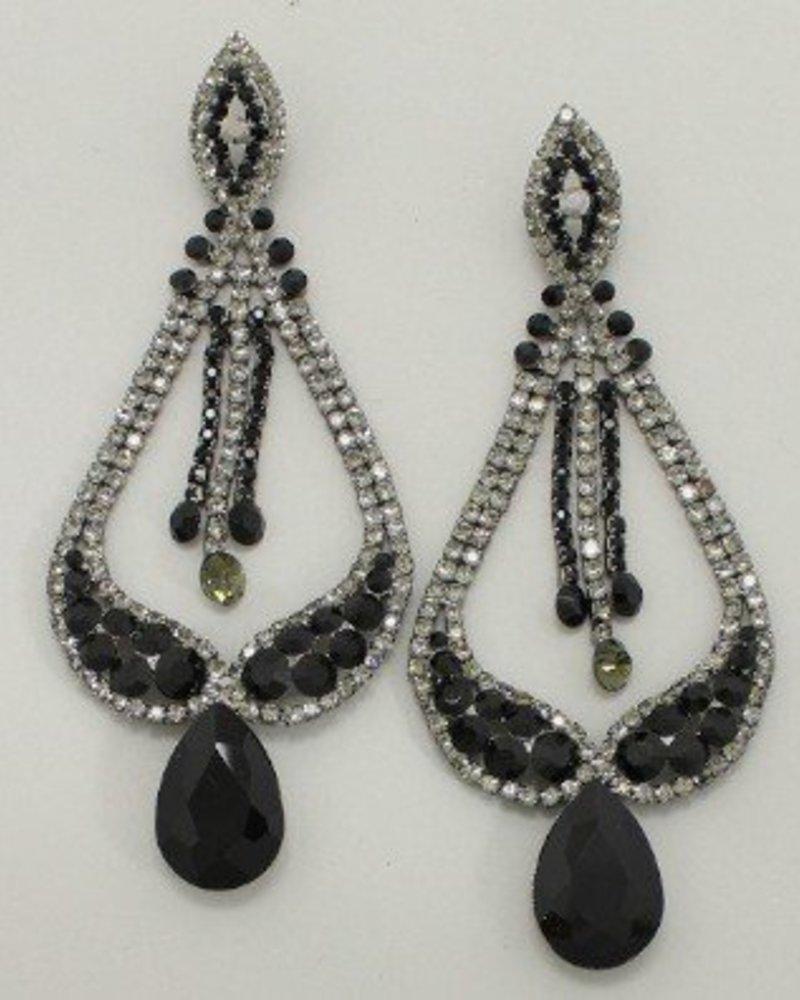 Tear Drop Earrings Black