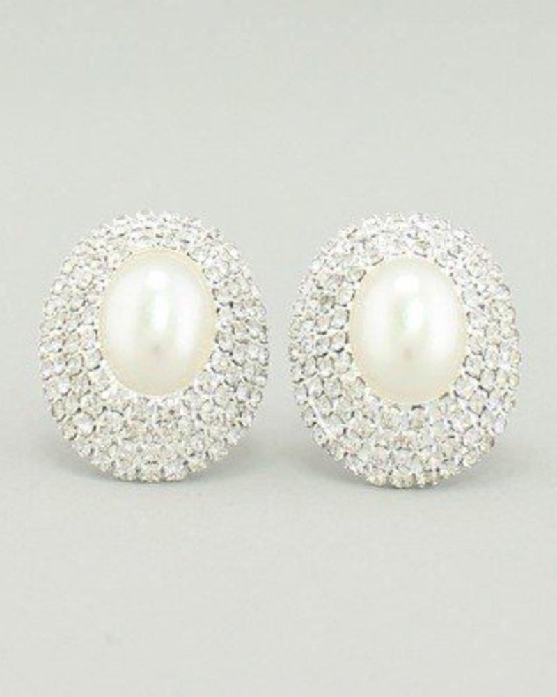 Pearl Earrings White-Silver
