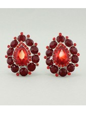 Teardrop Clip-on Earrings Red