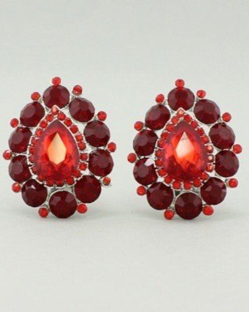 Teardrop Clip-on Earrings Red